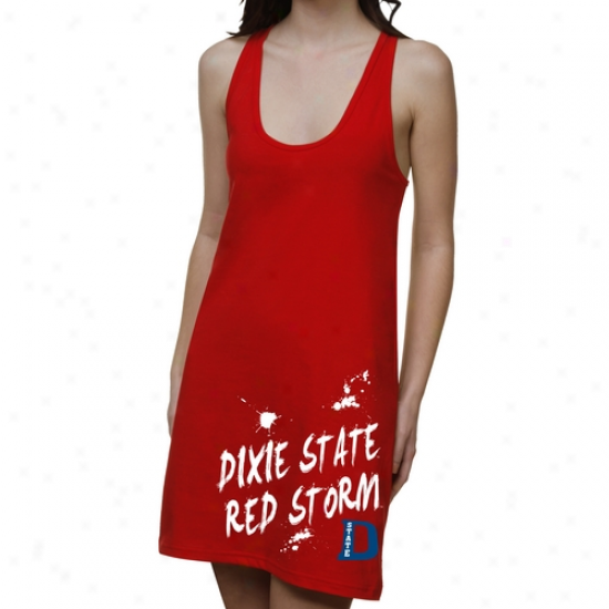Dixie State Red Storm Ladies Paint Strokes Junior's Racerback Dress - Red