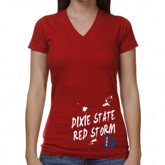 Dixie State Red Storm Ladies Paint Strokes V -neck T-shirt - Red