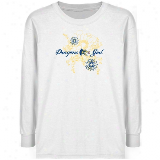 Drexel Dragons Youth White Floral Bloom Long Sleeve T-shirt