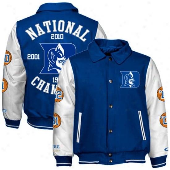 Duke Blue Devils Duke Azure 2010 Ncaa Division I Men's Basketball National Champions Wool/leather Jacket