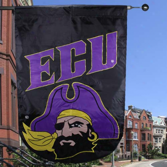 East Carolina Pirates 28'' X 44'' Mourning Applique Vertical Banner Flag