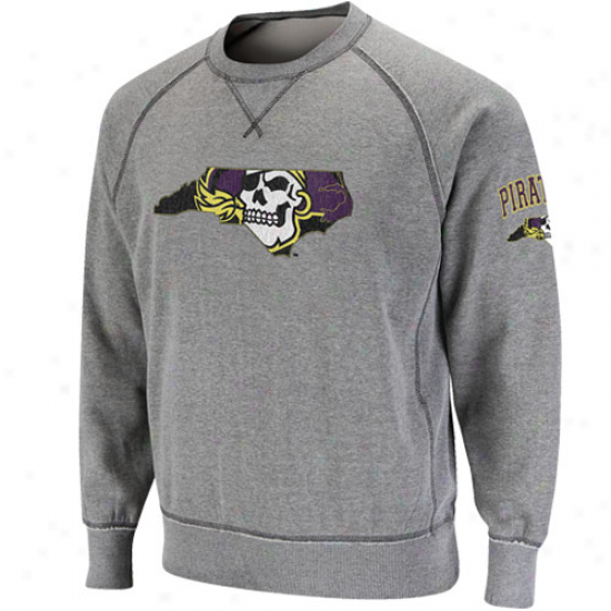 East Carolina Pirates Ash Outlaw Crew Sweatshirt