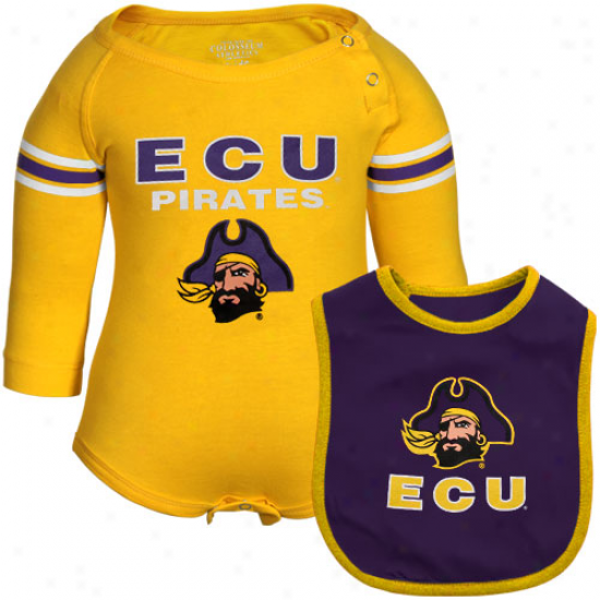 East Carolina Pirates Infanf Bleacher Creeper & Bib Set - Gold