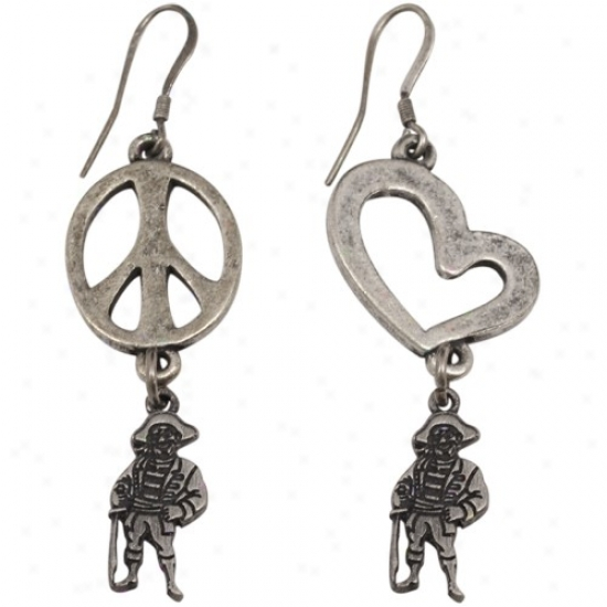 East Carolina Pirates Pewter Peace, Love Earrings