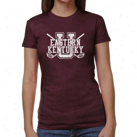 Eastern Kentucky Colonels Ladies Crossed Sticks Junior's Tri-blend T-shirt - Maroon