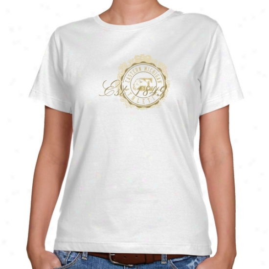 Eastern Michigan Eagles Ladies White Date Stamp Classic Fit T-shirt