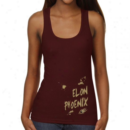Elon Phoenix Ladies Paint Strokes Junior's Ribbed Tank Top - Maroon