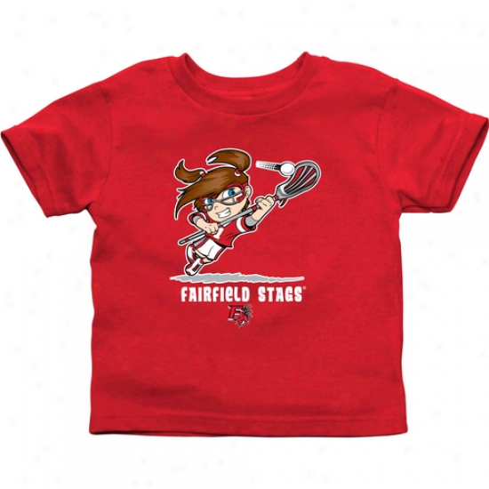 Fairfield Stags Infant Girls Lacrosse T-shirt - Cardinal