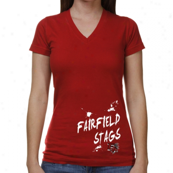 Fairfield Stags Ladies Paint Strokes V-neck T-shirt - Cardinal