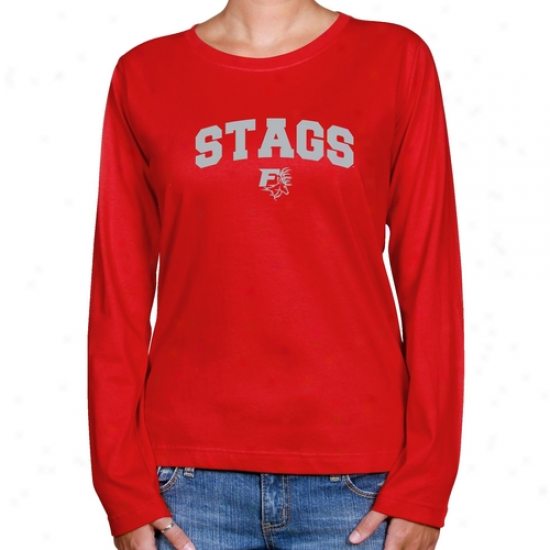 Fairfield Stags Ladies Red Logo Arch Long Sleeve Classic Accommodate T-shirt