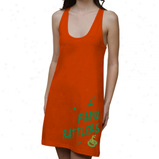 Famu Rattlers Ladies Paint Strokes Junior's Racerback Dress - Orange