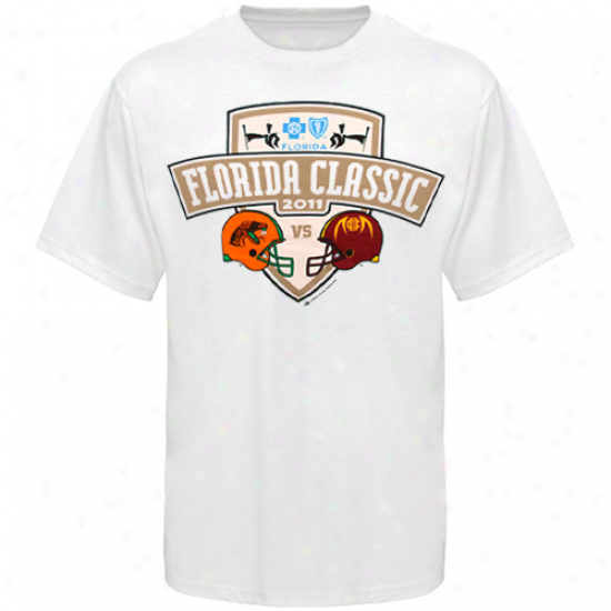 Florida A&m Rattlers Vs. Bethune-cookman Wildcats 2011 Florida First-rate Dueling T-shirt - White