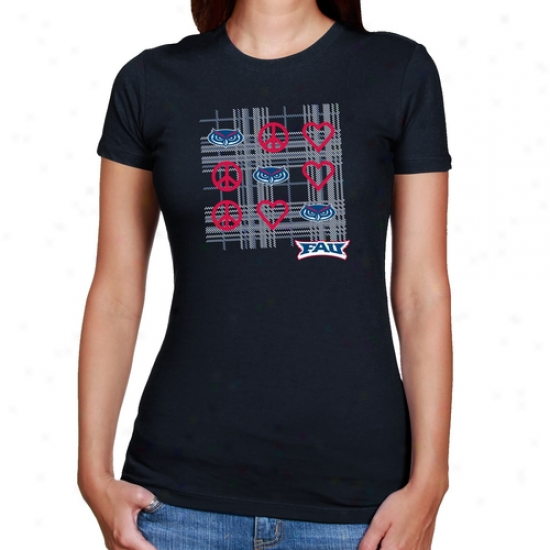 Florida Atlantic University Owls Ladies Navy Blue Tic-tac-toe Slim Fit T-shirt