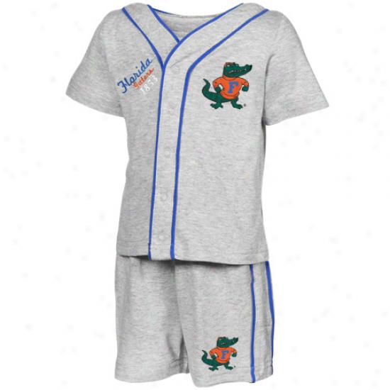 Florida Gators Infant Ash Batter Up Full Button T-shirt & Shorts Set