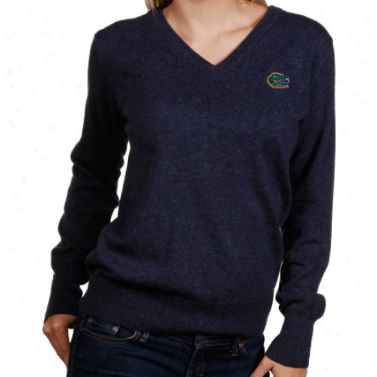 Florida Gators Ladies Navy Blue Classic V-neck Sweater