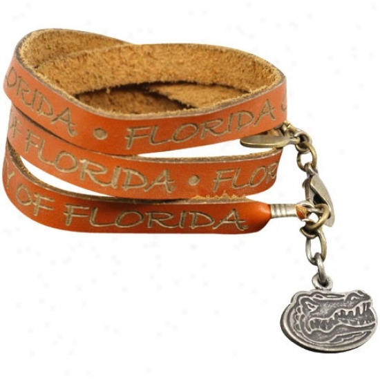 Floridda Gators Ladies Orange Wrap-around Leather Strap Bracelet