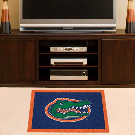 Florida Gators Orange-royal Blue 18'' X 30'' Handmade Bent Rug