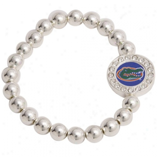Florida Gators Round Crystal Beaded Stretcn Bracelet