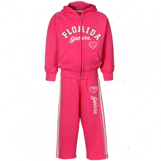 Florida Gators Toddler Youth Girls Hot Pink Bobcat Full Zip Hoody & Pant Set