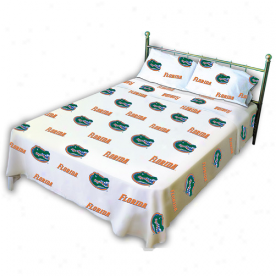 Florida Gators White Collegiate Sheet Set