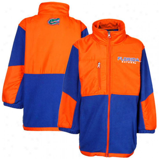 Florida Gators Youth Royal Blue-orange Polar Full Zip Clip Jacket