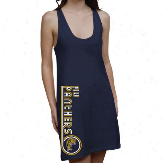 Florida International Golden Panthers Ladies Retro Junior's Racerback Dress - Navy Blue