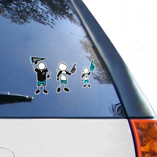 Florida Marlins 12'' X 12'' Family Car Decal Sheet