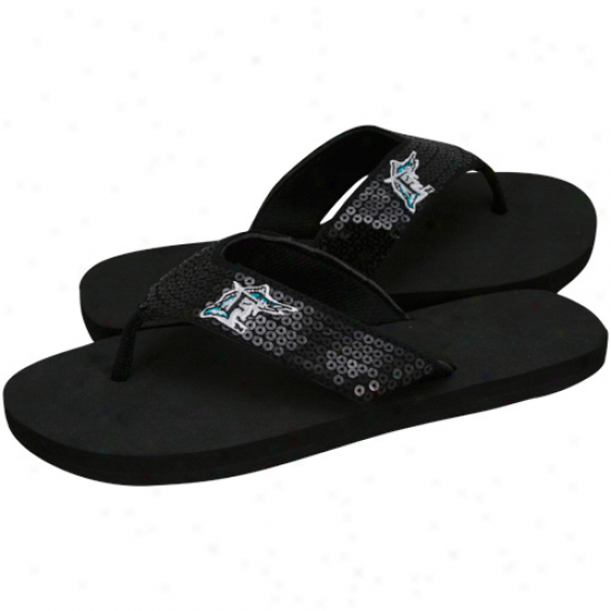 Florida Marlins Black Sequin Strap Flip Flops