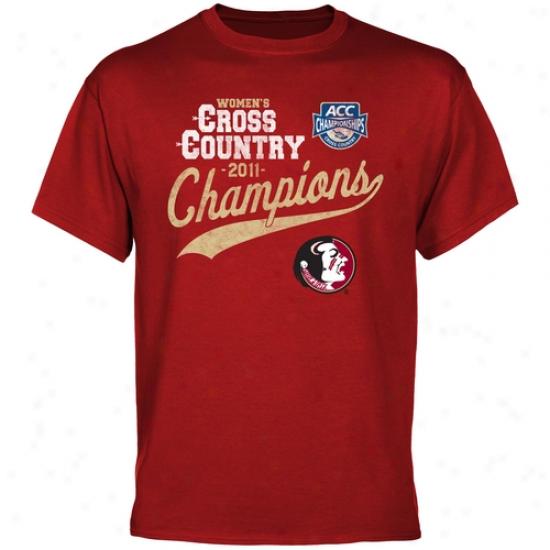 Florid State Seminoles 2011 Acc Women's Cross Country Champions T-shirt - Garnet