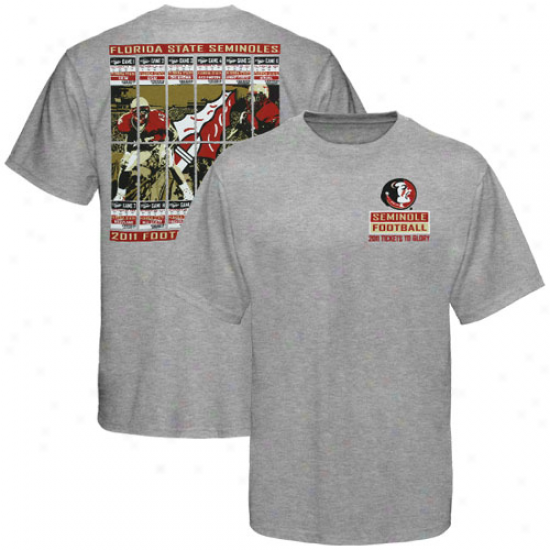 Florida State Seminoles (fsu) 2011 Football Schedule Tickets T-shirt - Ash