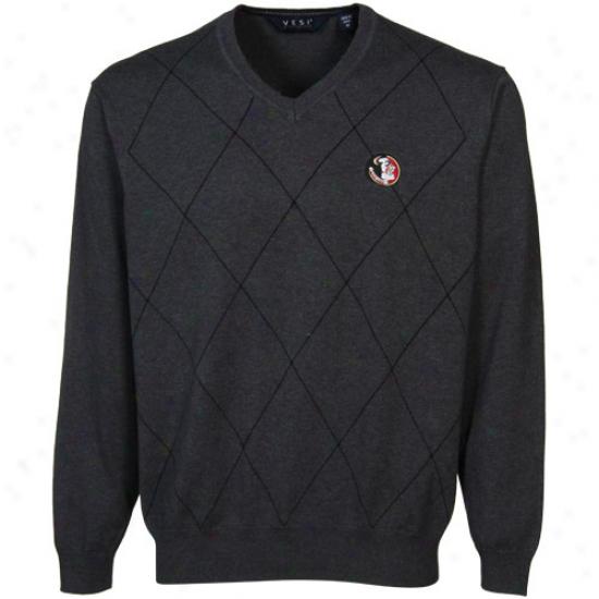Florida State Seminoles (fsu) Charcoal Argyyle V-neck Sweater