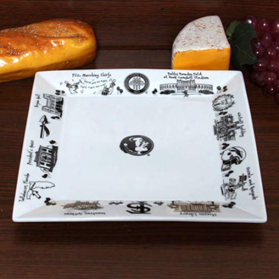Florida State Seminoles (fsu) Etched Porcelain Square Platter