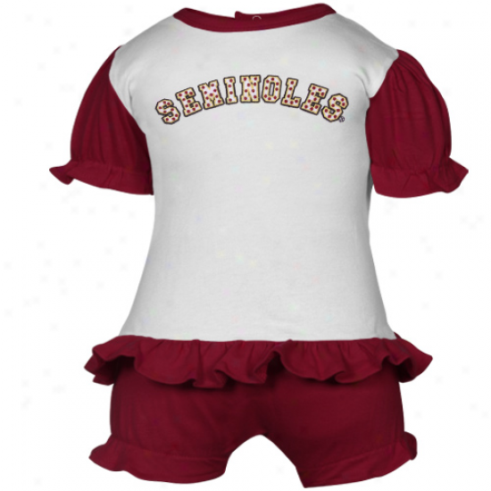 Florida State Seminoles (fsu) Infant White-garnet Polka Dot Bkoomer & T-shirt Set