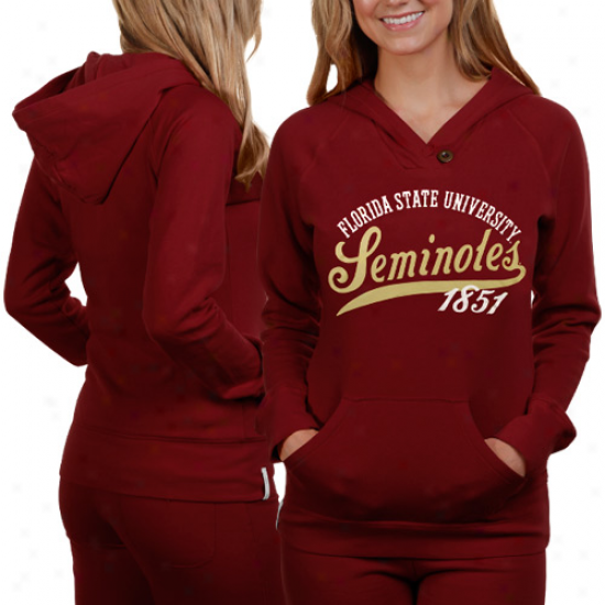 Florida State Seminoles (fsu) Ladies Garnet Far Out Pullover Hoodid Sweatshirt