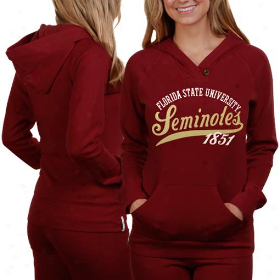 Florida State Seminoles (fsu) Ladies Garnet Far Out Pullover Hoodid Sweatshirt