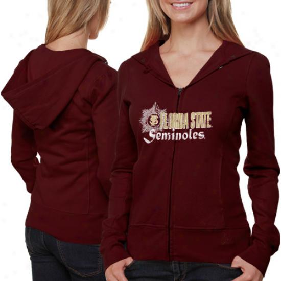 Florida State Seminoles (fsu) Ladies Garnet Puff Sleeve Full Zip Hoodie Jacket