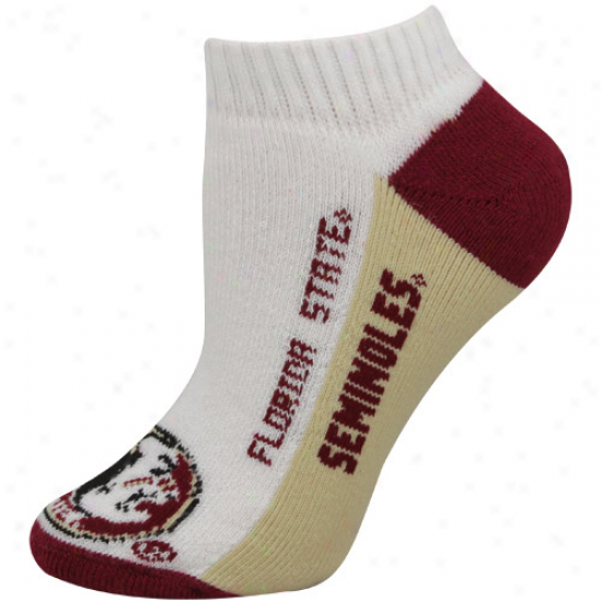 Florida State Seminolee (fsu) Ladies White Color Make steady  Ankle Sockq