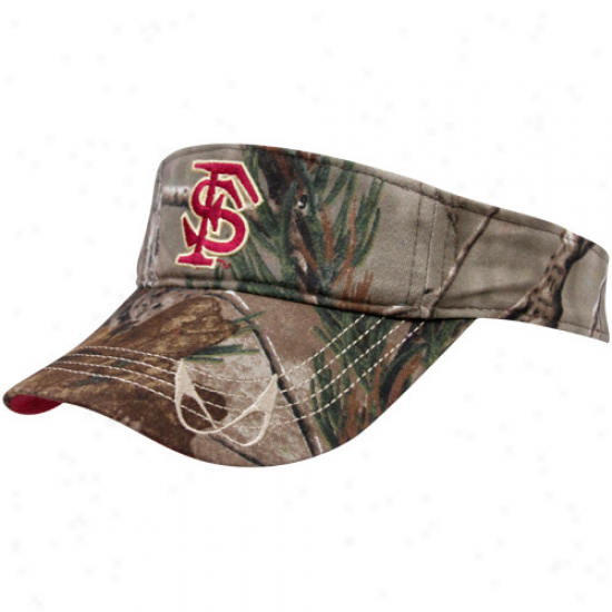 Florida State Seminoles (fsu) Realtree Camo-garnet Uform Reversible Adjustable Visor
