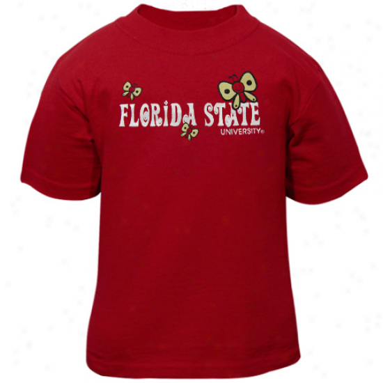 Florida State Seminoles (fsu) Toddler Girls Butterfly T-shirt - Garnet