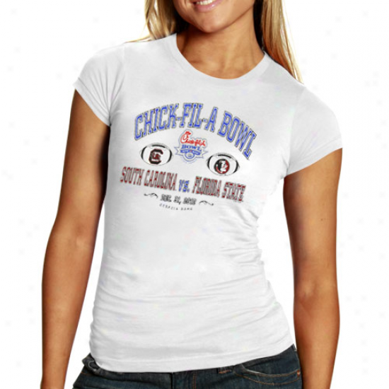 Florida State Semnioles (fsu) Vs. South Carolina Gamecocks Ladies White 2010 Chick-fil-a Bowl Bound Dueling T-shirt