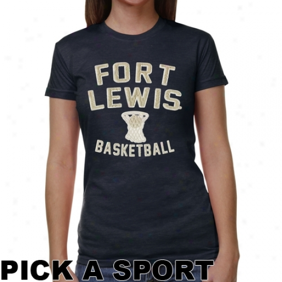 Fort Lewis College Skyhawks Ladies Legacy Junior's Tri-blend T-shirt - Navy Blue