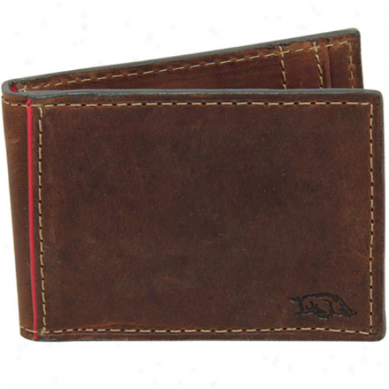 Fossil Arkansas Razorbacks Brown Leather Replay Money Clip Billfold Wallet