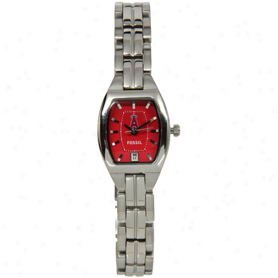 Fossil Los Angeles Angels Of Anaheim Ladies Stainless Steel Cushion Watch