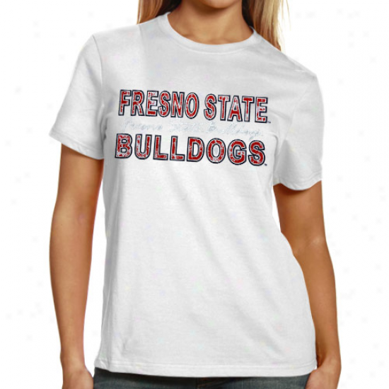 Fresno State Bulldogs  Ladies White Dixtressed Foil Pride T-shirt
