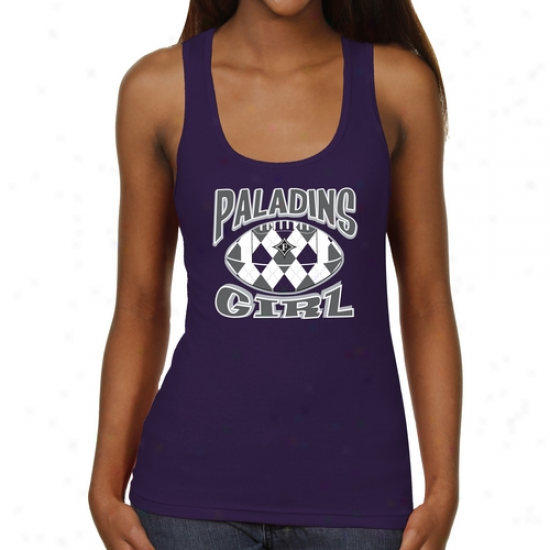 Furman Paladins Ladies Argyle Girl Junior's Ribbed Tank Top - Purple