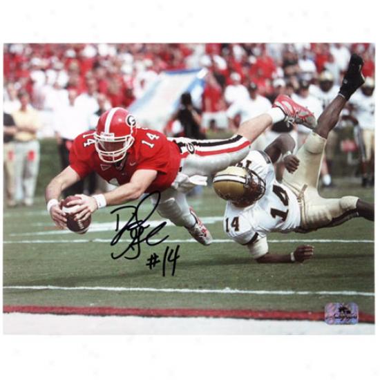 Georgia Bulldogs #14 David Greene Autographed 8'' X 10'' Landscape Photograph