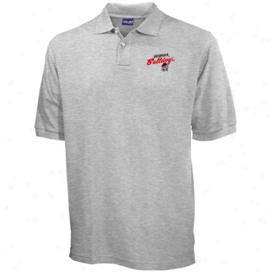 Georgia Bulldogs Ash Blazer Logo Pique Polo