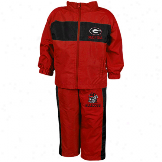Georgia Bulldogs Infant Red Playbook Full Zip Jacket & PantsS et