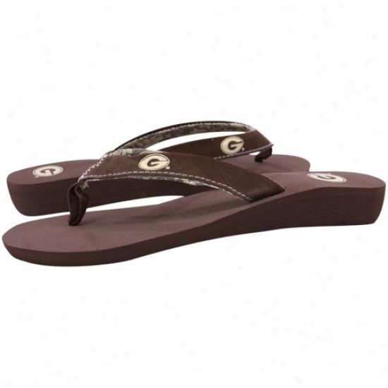 Georgia Bulldohs Ladies Brown Basic Flip Flops
