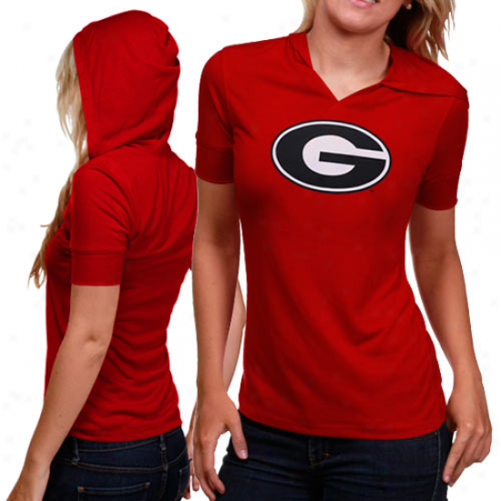 Georgia Bulldogs Ladies Red Cruhs Hooded Premium T-shirt